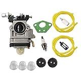 HURI Carburetor with Gasket Fuel Line Fuel Filter Primer Bulb for 300486 Earthquake MC43 MC43CE MC43E MC43ECE MC43RCE Mini Cultivator