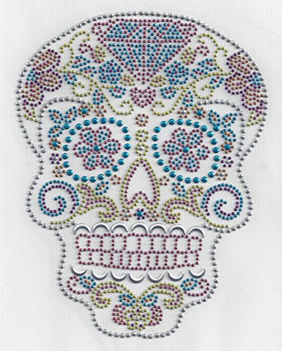 Sugar Skull Dia De Los Muertos Decal Heat Press T-Shirt Day of the Dead Rhinestone (Heat Rhinestones compare prices)