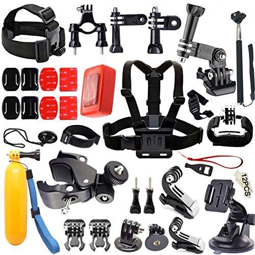 Iextreme 46-in-1 Kit d'accessoires pour GoPro Hero 5 4 3+ 3 2 1 SJ4000 SJ5000 Xiaomi Yi +Harnais de Poitrine + Selfie Bâton + Sangle Bracelet + Poignée Flottante