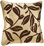 Shahenaz Home Shop Amodini Leaf Embroidery Poly Dupion Cushion Cover - Brown and Gold