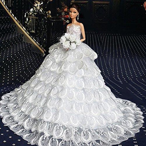 WayIn-Vestido-de-boda-hecho-a-mano-magnfico-hecho-para-adaptarse-a-la-mueca-Barbie-Blanca