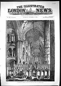 Una Stampa Antica delle Preparazioni 1883 della Cattedrale di Peterborough che Tirano Giù i Centri...