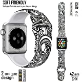 Apple Watch Band (Fantasia De Feleurs) – Unique Design By Designer MADI BEKDAIR and box design by RUSS – Soft TPU Silicone Apple Watch Replacement Band With Pin & Tuck 42mm (S/M Size)