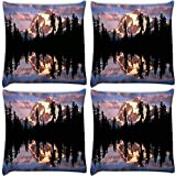 Snoogg Abstract White Hill Top Pack Of 4 Digitally Printed Cushion Cover Pillows 12 X 12 Inch