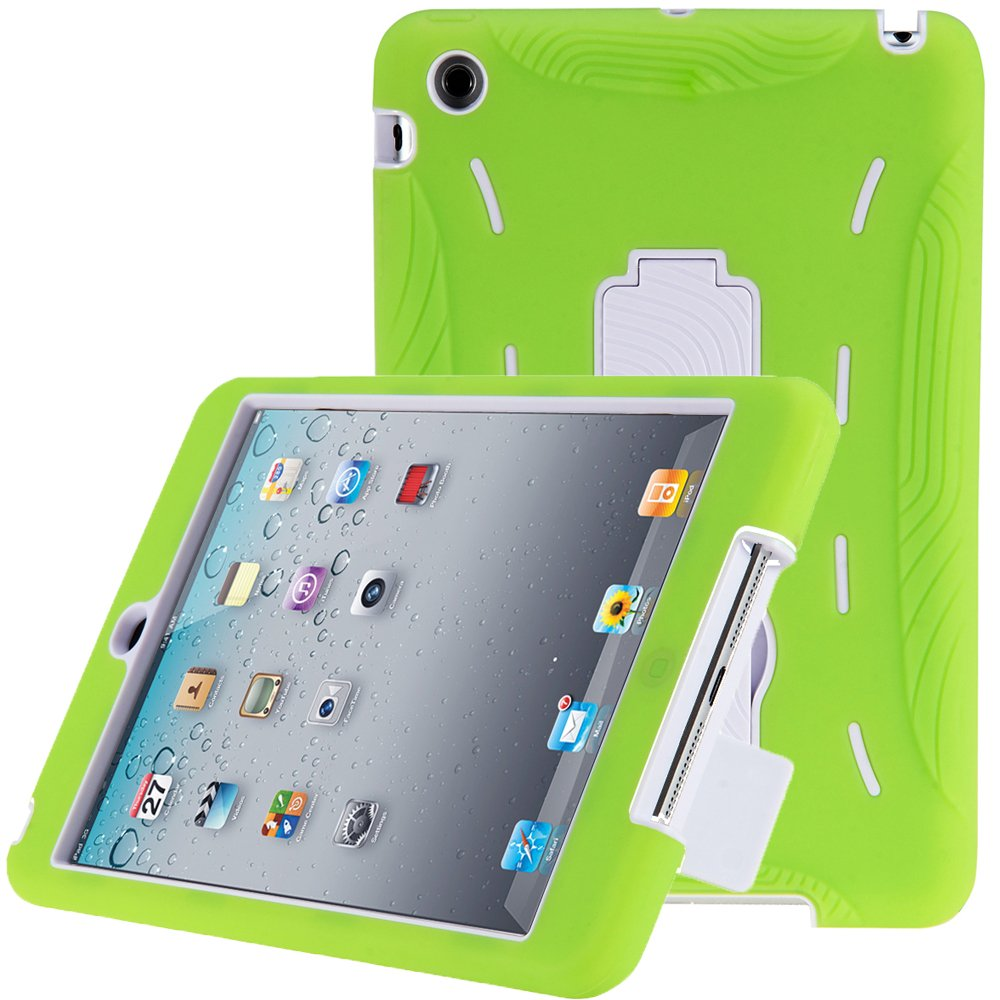 i-Blason ArmorBox Series 2 Layer Hybrid Protection Case For Apple New iPad Mini 7.9 Inch with Kick Stand Kids Friendly (Green/White)