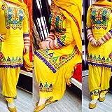 UTTAM VASTRA yellow cotton semi-stitch embroidered designer dress