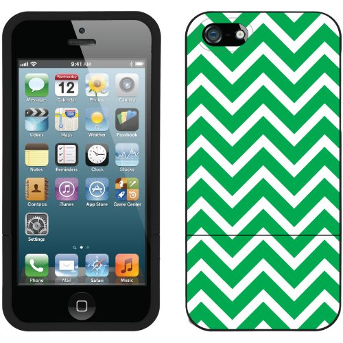 Best Price Green and White Chevron design on a Black iPhone 5s / 5 Slider Case by Coveroo