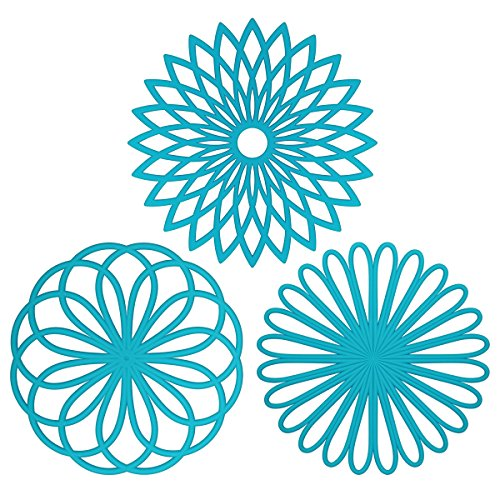 ME.FANTM Silicone Multi-Use Flower Trivet Mat(set of 3 Pack) Premium Quality Insulated Flexible Durable Non Slip Hot Pads and Coasters Cup Blue