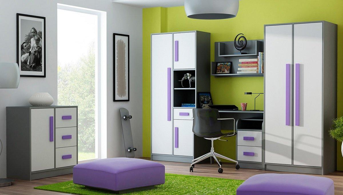 Jugendzimmer Kinderzimmer GRANT 6-tlg komplett in 5 Farben Schrank chreibtisch Kommode Regale NEU bestellen