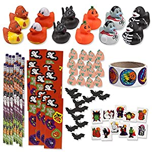 157 Piece Mega Halloween Toy Novelty Assorment; 12 Halloween Ducks, 12 Halloween Pencils, 12 Halloween Sticker Sheets; 48 Halloween Erasers; 72 Halloween Glitter Tattoos & Sticker Roll!!