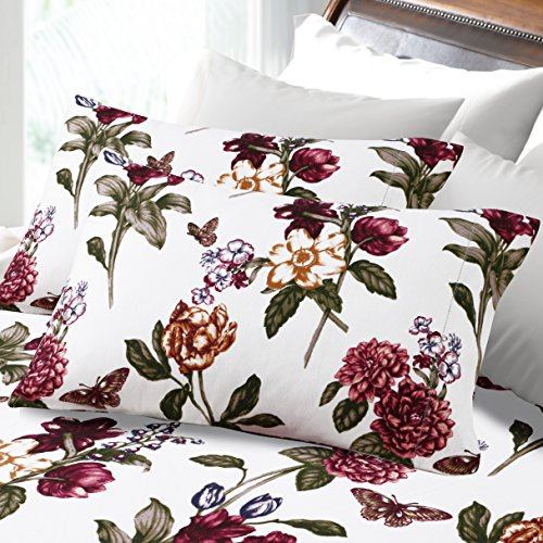 Sale Tribeca Living 200 Gsm Blossoms Printed Deep Pocket Flannel Sheet Set King Your Extra Price Machine Ff2