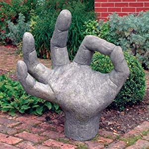 Large garden sculpture giant ok hand stone statue for Big hands for gardening