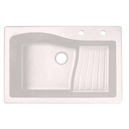 Swaoi|#Swanstone QZ03322AD.075-2C 22-In X 33-In Granite Kitchen Sink 2-Hole, Bianca,