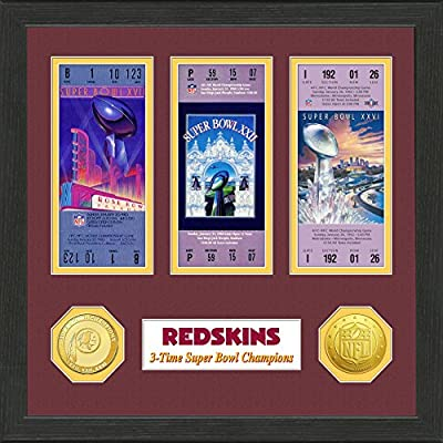 "NFL Washington Redskins Sb Championship Ticket Collection, Bronze, 18 "" x 14"" x 3"""