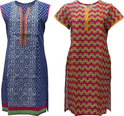 Mothersbay Women's Soft Cotton Maternity Wear Kurta - (MB_81, Multi-Coloured, Large)