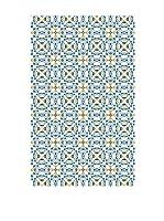 Huella deco Alfombra Bañada en Vinilo (Azul Celeste/Amarillo)