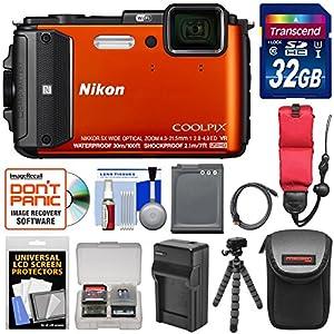 Nikon Coolpix AW130 Shock & Waterproof GPS Digital Camera (Orange) with 32GB Card + Battery & Charger + Case + Flex Tripod + Floating Strap + Kit
