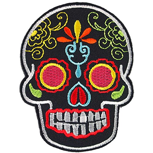 Flower Eye Black Novelty Candy Skull Embroidered Iron on Patch