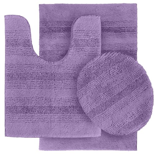 Garland Rug 3-Piece Essence Nylon Washable Bathroom Rug Set, Purple at Sears.com