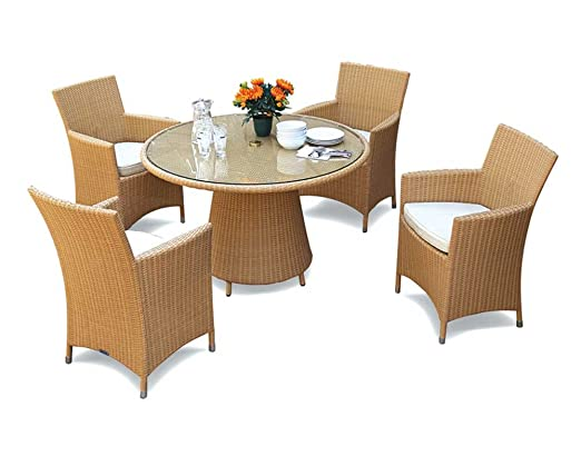 Rattan Garden Table And 4 Chairs Set - Glass Top 4 Seater Rattan Dining Set - Jati Brand, Quality & Value