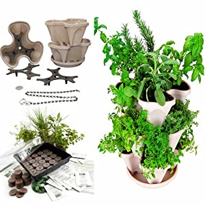 Garden Stacker Planter + Indoor Culinary Herb Garden Kit- Great Gift Idea- Grow Cooking Herbs- Seeds: Parsley, Thyme, Cilantro / Coriander, Basil, Dill, Oregano, Sweet Marjoram, Chives, Savory, Garlic Chives, Mustard & Sage- Includes Stackable Planter