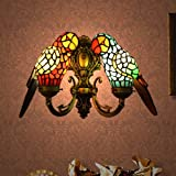 Parrot lover Tiffany wall lamps 2 light bulbs
