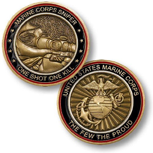 Marine Corps Sniper -- One Shot, One Kill Challenge Coin