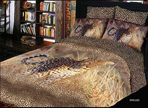 Queen Size 100% Cotton 4-Pieces 3D Leopard Animal Prints Duvet Cover Set/Bed Linens/Bed Sheet Sets/Bedclothes/Bedding Sets/Bed Sets front-996669