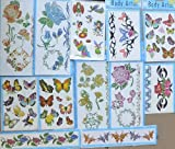 Flower Butterfly Temporary Tattoos (12 Large Sheets) Girls Removable Tattoos