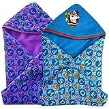 BRANDONN Hooded Blanket Cum Wrapper For Babies (Purple & Blue, Set Of 2)