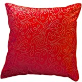 "That's Perfect® Beaded Vine 18""x18"" Decorative Silk Throw Pillow Cover (Bright Red)"
