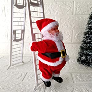 Christmas Electric Plush Doll Figurine Decoration Holiday Indoor Home Party Decor Santa Claus Climbing Ladder Up /& Down Singing Jingle Bells Animated Hanging Xmas Ornament Toys with Music