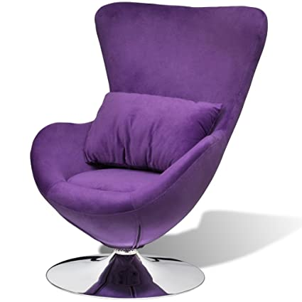 vidaXL Piccola Sedia Viola Ovale Girevole con Cuscino