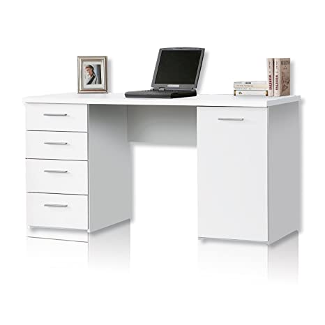 NEWFACE Net106 Schreibtisch mit 4 Schubkästen und 1 Tur, Holz, weiß matt, 145 x 60 x 76.3 cm
