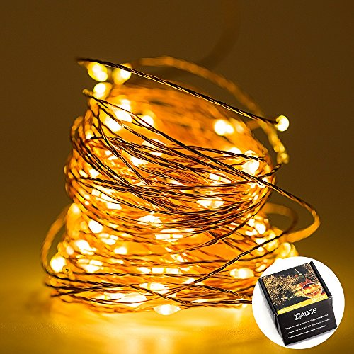 LED String Lights -100 Leds, 33 foot Copper Wire, Warm White Outdoor Decor Lighting for Birthday Parties, Wedding and somewhere else - Hang on the Furniture, Party Tent or Trees - Water-Proof