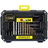 Stanley Fatmax STA7222-XJ - Set of Accessories, 36 Pieces for Drilling and Screwing, 8 Titanium Bits for Metal (1.5, 2, 2.5, 3, 3.5, 4, 5 and 6 mm), 4 Bits for Wall (5, 6, 7 and 8 mm), 5 Bits for Wood (3, 4, 5, 6 and 8 mm), 1 Magnetic Adapter 60 mm, 14 Screw Tips (Philips Ph1, Ph2 and Ph3 / Pozidriv: Pz1, Pz2 and Pz3 / Flat: 4, 6 and 7.2 mm / Torx: 10, 15, and 20 / Square 1 and 2), 3 Screw Drill Bits (Ph1, Ph2 and Ph3), and 1 Borehole