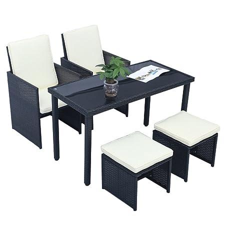 MCTECH® Poly Rattan Gartengarnitur Sitzgruppe Sofa Garnitur Polyrattan Gartenmöbel Essgruppe inkl. Glas und Sitzkissen 4+1 teilige (Type A mit Schwarz Rechteck Tabelle)