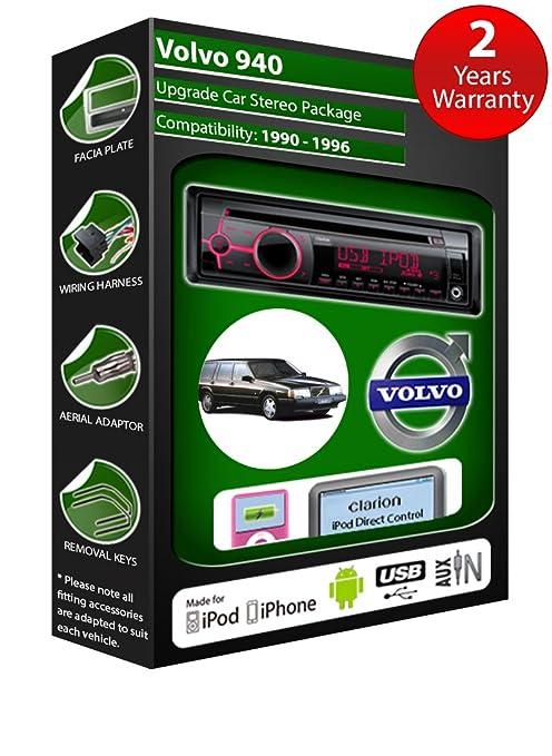 Volvo 940 de lecteur CD et stéréo de voiture radio Clarion jeu USB pour iPod/iPhone/Android