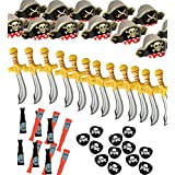 Pirate Party Set -12 Pirate Hats Patches Swords Telescopes - Funny Party Hats