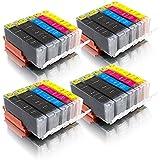 ms-point® 20 kompatible Druckerpatronen mit CHIP und Füllstandsanzeige für Canon Pixma IP7200 IP7250 IP8700 IP8750 IX6800 IX6850 MG5400 MG5450 MG5500 MG5550 MG5600 MG5650 MG5655 MG6300 MG6350 MG6400 MG6450 MG6600 MG6650 MG7100 MG7150 MG7500 MG7550 MX720 MX725 MX920 MX925 Patronen kompatibel zu PGI-550, CLI-551BK, CLI-551C, CLI-551M, CLI-551Y