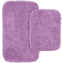 Garland Rug 2-Piece Jazz Shaggy Washable Nylon Bathroom Rug Set, Purple