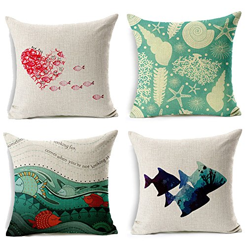 "WOMHOPE 4 Pcs - 18"" Ocean Park Theme Sea Fish Style Cotton Linen Square Throw Pillow Case Decorative Cushion Cover Pillowcase Cushion Case for Sofa,Bed,Chair (Fish 4 Pcs)"