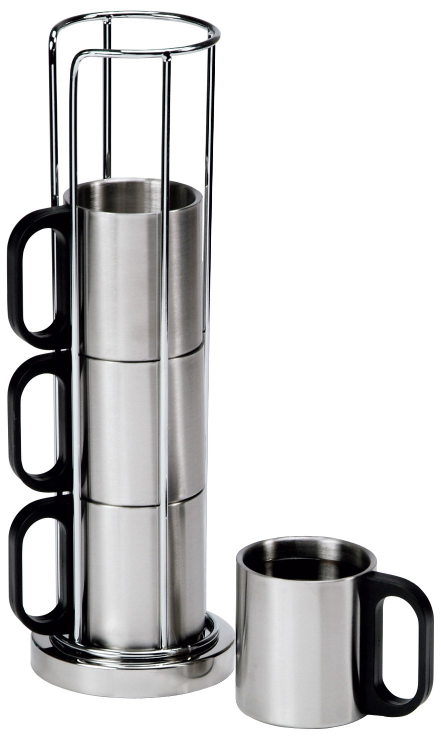 chrome coffee cup rack stainless steel insulated 4 mug set. Black Bedroom Furniture Sets. Home Design Ideas