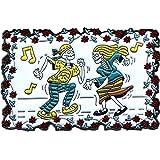 Dancing Hippy Skeletons - Music Notes - Enamel Pin