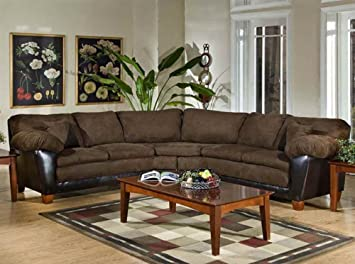 James 2-Pc Sectional Sofa in Bicast Chocolate Fabric