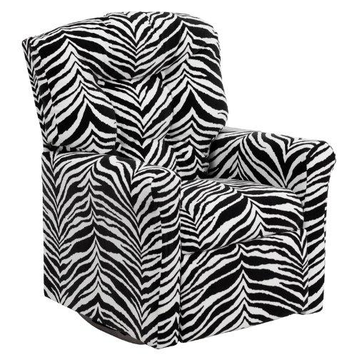 Flash Furniture Kids Zebra Print Microfiber Rocker Recliner front-1000727