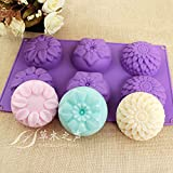 Pieces 6 Cavity Silicone Flower Soap Mold Chrysanthemum Sunflower Mixed Flower shapes Cupcake Backing mold Muffin pan Handmade soap silicone Moulds