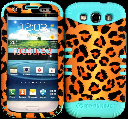 Hybrid Impact Rugged Cover Case Brown Leopard Animal Print Pattern Hard Plastic Snap On Baby Teal Silicon Skin For Samsung Galaxy Slll S3 Fits Sprint L710, Verizon I535, At&T I747, T-Mobile T999, Us Cellular R530, Metro Pcs And All front-388367