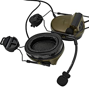 TAC-SKY Tactical Headset Comta II Helmet Version Noise Reduction Sound Pick Up for Airsoft Activities (Army Green) (Color: Army Green)