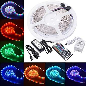 Ruban lumineux 300 LED RVB 5050 SMD de 10 mètres + télécommande à infrarouge 44 touches + Alimentation 24W LD121E